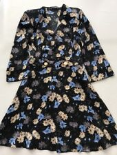 New Zara Basic Floral Flowers Black Blue dress size XS
