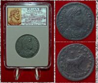 Ancient Roman Empire Coin Of JULIAN II Large Follis with Bull on Reverse