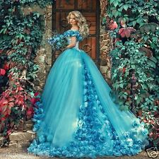 Blue Wedding Dresses Hand Made Flowers Court Train Backless Wedding Bridal Gown