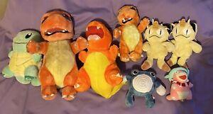 Vtg Pokemon Stuffed Plush Doll Lot 90s Nintendo Charmander Play By Play Squirtle