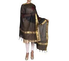 Chanderi Silk Dupatta Stole Women Black Scarves Vintage Wrap Scarf  Wrap (NEW)