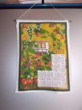 VINTAGE DDR Wandkalender 1988 DDR Stoffkalender mit Aufhänger bedruckt
