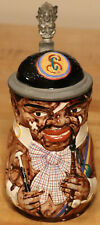 Black Fraternity Student 1/2L German character beer stein antique #1005