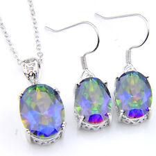 Wedding Jewelry 2 Pcs 1 Lot Natural Rainbow Fire Topaz Silver Earrings Pendants