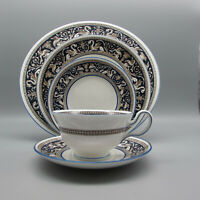 Wedgwood Bone China FLORENTINE COBALT W1956 5pc Place Setting (Peony)
