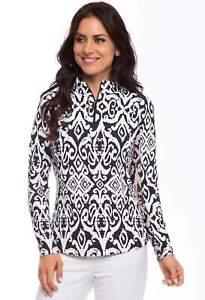 NWT Ladies IBKUL DOREEN BLACK & WHITE Long Sleeve Mock Golf Shirt sizes M & XXL