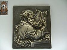 Eisenplatte Wandbild lesender geistlicher Mann 1,1 kg Wandplatte 16 cm x 18 cm
