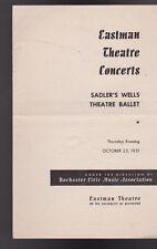 Sadler's Wells Theatre Ballet Program October 25 1951 Eastman Theatre