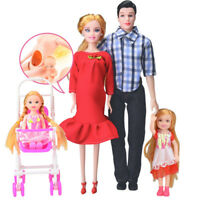 Dress Real Pregnant Doll Suit MOM & DAD&Daughter Family Toys Set For Barbie CH