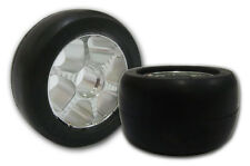 113mm x 64mm Big Slick Rubber on Aluminum Wheel, two wheels w/bearings