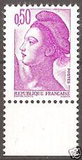 FRANCE, n° 2184a, variété 0,50 F papier COUCHE, bord de feuille.