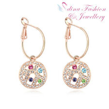 18K Rose Gold Plated Made With Swarovski Crystal Multicolored Moon Hoop Earrings
