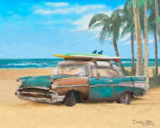 Surf Art ~ 57 Chevy beach car ~ 1957 Chevrolet art print