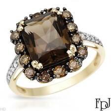 FPJ 10k Yellow Gold Cocktail Ring w/ Genuine Diamonds & Topaz/ 3.83cwt, Size 7