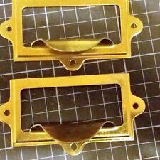 Armario de latón pulido Oficina Hogar Tarjeta de etiqueta soporte del bastidor con tirar de 2 piezas