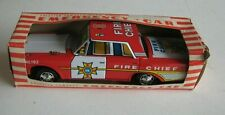 Vintage Japan Kyoei Toys Fire Chief Car Tin Litho Friction MIB #F9 RARE