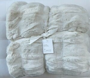 """Pottery Barn RUCHED FAUX FUR Throw 50"""" x 60"""" Ivory Luxurious NWT"""