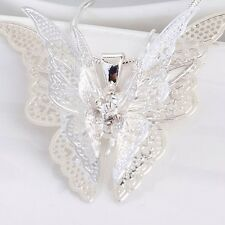Women Lady Butterfly Pendant Jewelry Silver Plated Necklace
