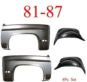 No Shipping 81 87 Chevy 4Pc Front Inner & Outer Fender Set, Truck, Blazer