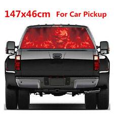 Pickup Truck SUV Rear Window Flaming Skull Vinyl Sticker Accessories 147x46cm