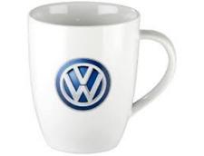 Original Volkswagen Kaffeebecher Tasse weiß mit VW Logo 000069601D