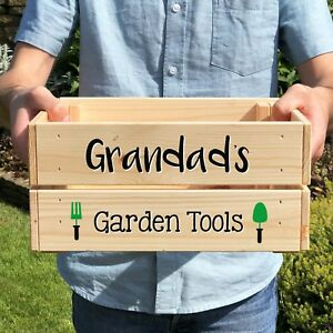Personalised Wooden Garden Tools Crate Box, Grandad, Father's Day, Birthday Gift