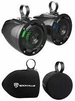 "(2) MTX MUD65PL 6.5"" 100w LED Tower Speakers+Covers For Polaris RZR/ATV/UTV/Jeep"