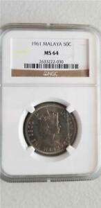 Malaya 50 Cents 1961 NGC MS 64