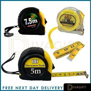 Retractable Measuring Tape Metal 2x10 Metre Self Lock Power Grip Lock Metric New