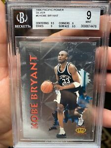 ~1996 SUPER-HIGH-END BGS 9 TWO 9.5s PACIFIC POWER SILVER FOIL KOBE BRYANT RARE