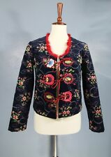 New-Size 4-Cynthia Rowley-Women Velvet Quilted jacket-Navy Blue Blazer-Red Flora