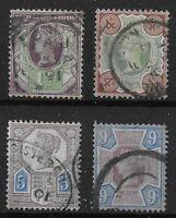 1887 Jubilee 1&1/2d., 4d.,5d.,9d.  Fine-Very Fine Used. Cat.£80+  Ref.0978