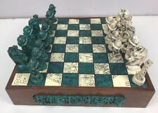 Aztec Chess Set Wooden Board Carved Stone Pieces Conquistadors Mexican Vintage