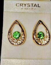 Earrings Stud 10K Yellow Gold Filled Swarvorski Crystal Green Stone