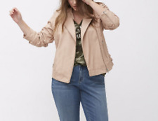 Lane Bryant FAUX leather veiled rose jacket with buckles snap neck size 18/20