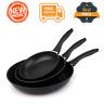 3 Piece Aluminum Non-Stick Skillet Frying Pan Kitchen Cookware Cooking Set Black