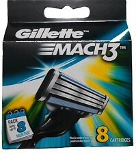 Gillette Mach 3 Cartridges 8 Razor Blades Shaving (1 Set of 8) Genuine Mach3