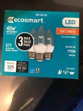 (3-Pack)Eco Smart 40W Equivalent Soft White B11 Clear Decorative LED Light Bulb