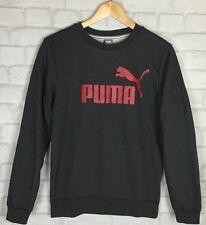 WOMENS VINTAGE RETRO PUMA 90'S SWEATER SPORT ATHLETIC JUMPER GREY GRUNGE UK 6
