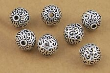 THAI .925 STERLING SILVER VINTAGE 12mm ROUND CARVED FOCAL BEAD #445 - (1)