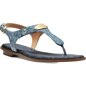 MICHAEL Michael Kors Womens MK Plate Blue Thong Sandals 7.5 Medium (B,M) 0085