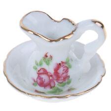 1:12 Dollhouse Miniature White Ceramic Mini Kettle+Basin Furniture Accessories`