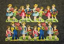 Vintage Germany Die-Cut Paper Scraps Sheet Boys Girls 1133