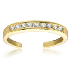 14K Yellow Gold Over Sterling Silver White CZ Channel-Set Toe Ring