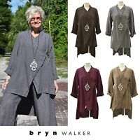 BRYN WALKER Heavy Linen Cross Tie  GAIA  Hi-Lo JACKET Top  1X 2X 3X FALL 2016