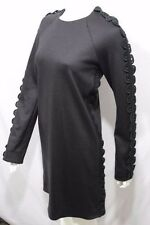 New Chloe Women Black Wool Cocktail Dress Long Sleeves Pockets Swirl 6 US 40 IT