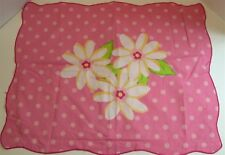 Polka Dotted Floral Scalloped Pillow Sham ~ Pink Multi ~ 23.5 x 30