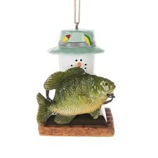 Smores Snowman FISHERMAN Big Fish Christmas Ornament, by Midwest CBK