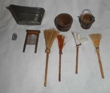 VINTAGE Dollhouse WASHING TUB, BUCKETS ,IRON, WASH BOARD, BROOMS & MOP
