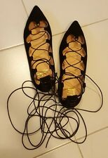 Authentic Christian Louboutin Black Lace Up Ballerina Flats Size 36